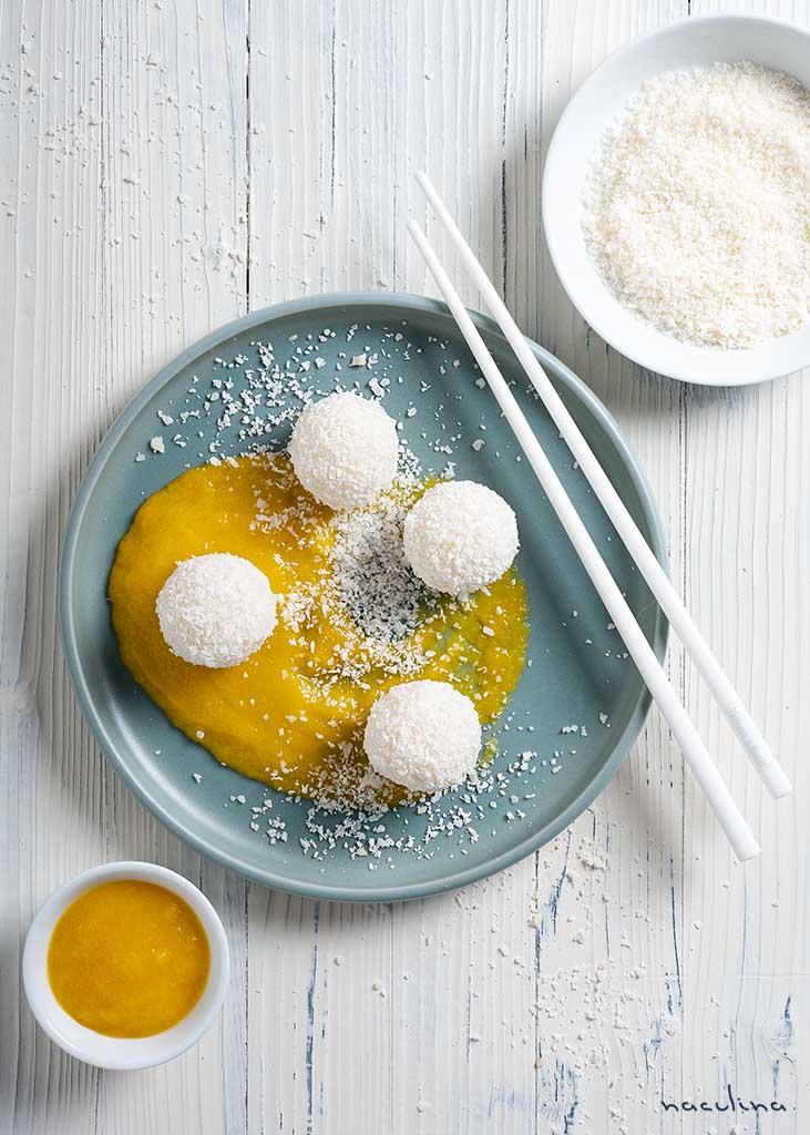 Süße Reisbällchen mit Mangosoße3
