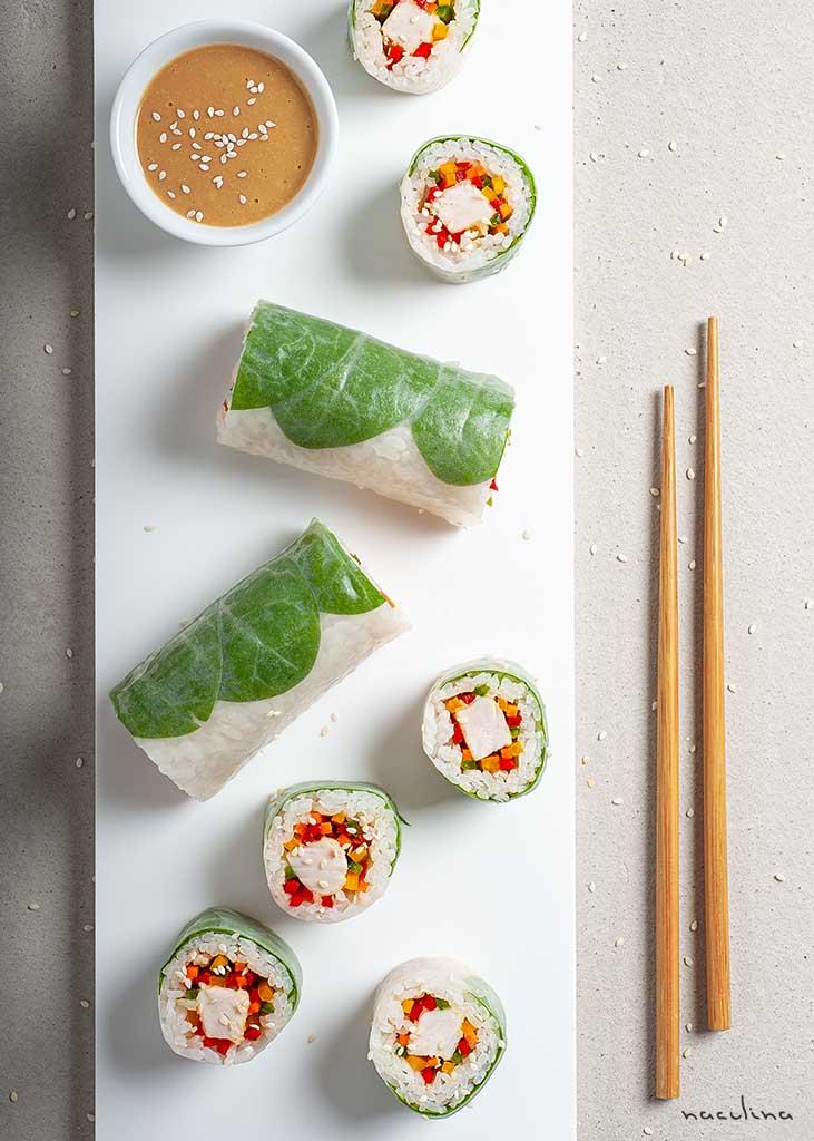 Sushi-Spring-Rolls mit Hähnchen und Paprika1