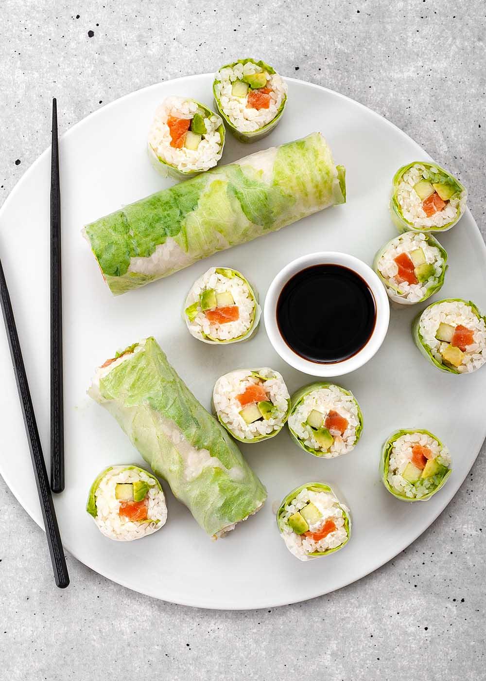 Sushi Spring Roll mit Lachs, Avocado und Gurke 3.2