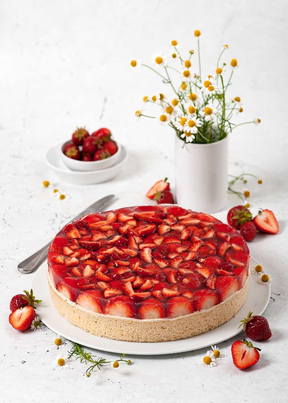 Erdbeekuchen mit Puddingcreme 1