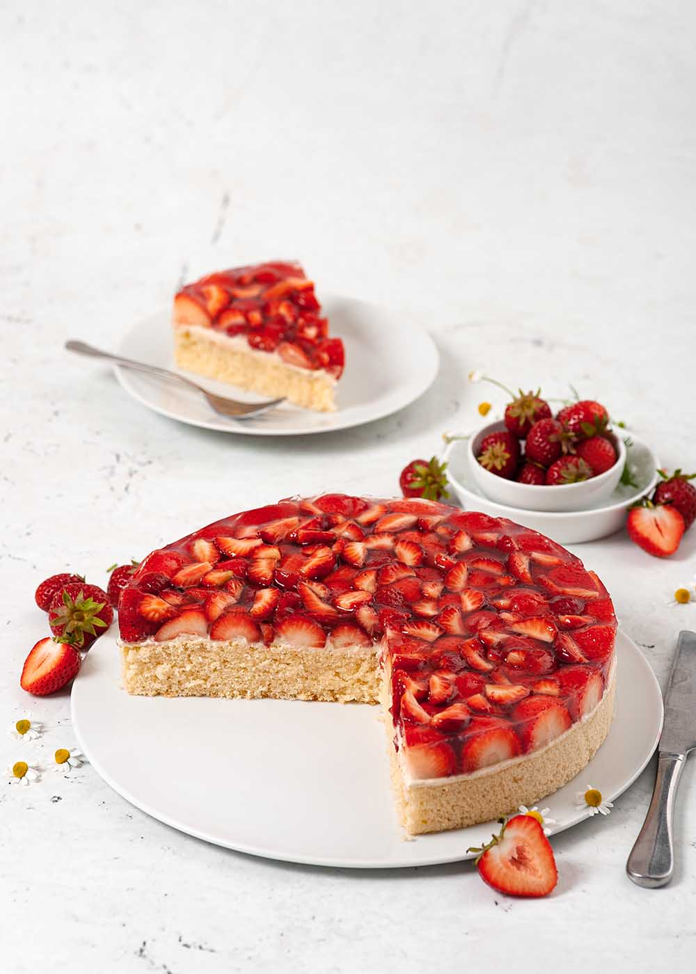 Erdbeekuchen mit Puddingcreme 3