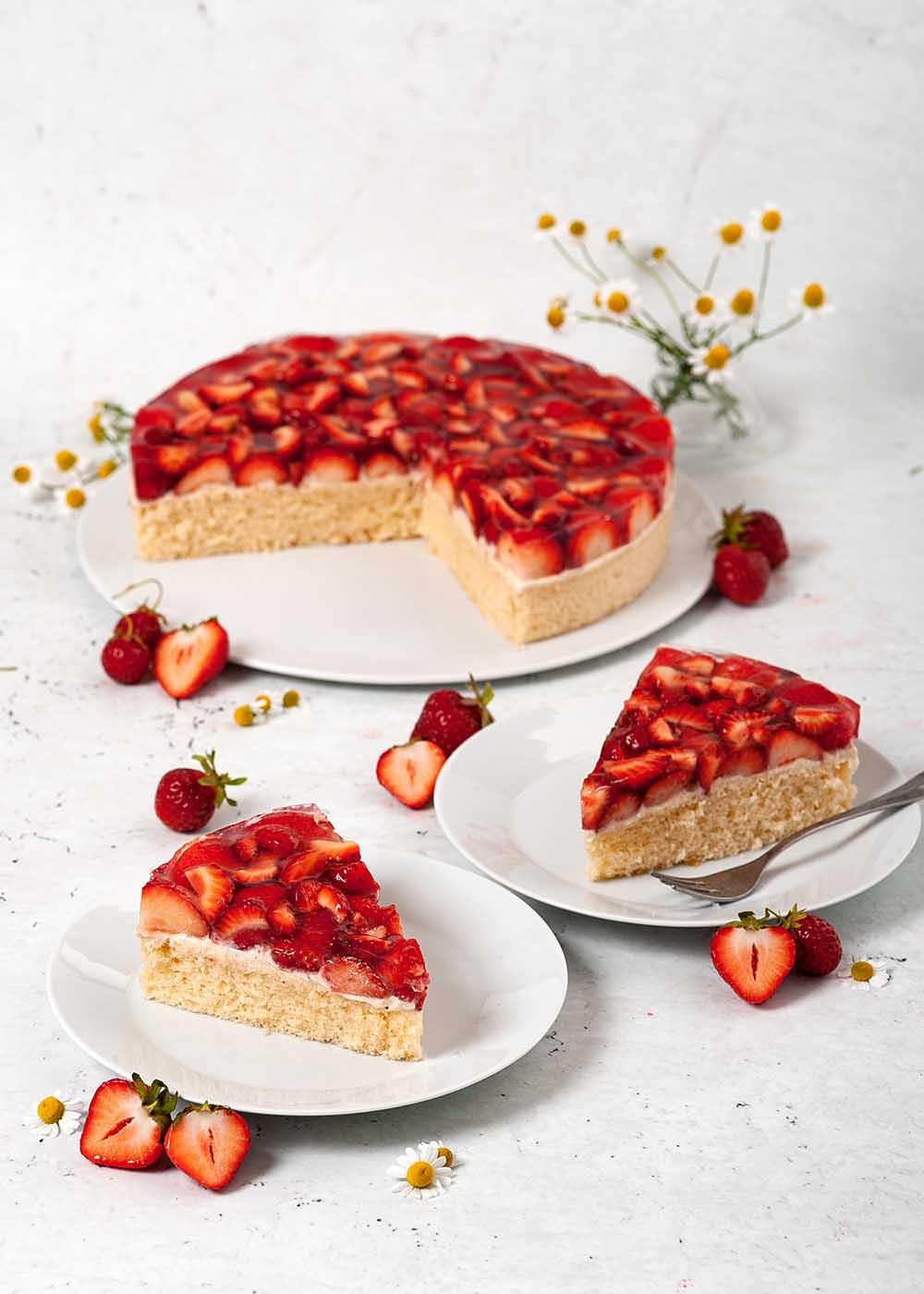 Erdbeekuchen mit Puddingcreme 4